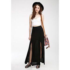 Double slit chiffon maxi skirt LARGE